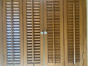 VTG Wood Wooden Brown Folding Louvered Interior Window Shutters 31x28 EXCELLENT