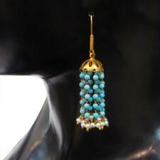 Gorgeous Turquoise Or Pearl Beads Women's Fashion Yellow Gold Dangle Earrings