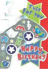 7th Birthday Card, AGE 7,  From the Kidazzle Collection,  Gadgets Design