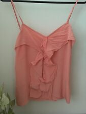 County Road Salmon Silk Singlet Ruffle Front Top Size 10
