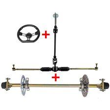 "New listing 29"" Go Kart ATV Rear Axle Kit + Tie Rod Shaft Rack + Steering Wheel Gokart ATV"