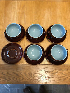 VINTAGE DENBY HOMESTEAD 4 INCHES SOUP BOWLS X 5 WITH 6 SAUCERS