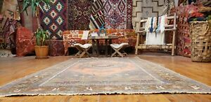 "Fine Antique Cr1900-1939's Muted Natural Dye Wool Pile Oushak Rug 4'8"" x 8'2"""
