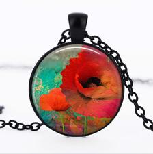 Poppy Collage Black Glass Cabochon Necklace chain Pendant Wholesale