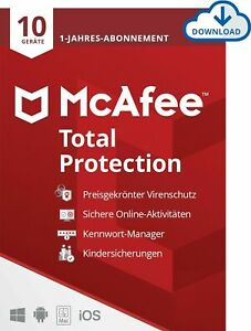 McAfee Total Protection 2021 (1 / 3 / 5 / 10 Geräte) 1 Jahr Vollversion E-Mail
