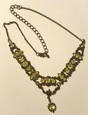 Vintage Very Pretty Beautifully Light Green Rhinstones Hematite Necklace Choker