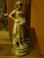 ORIGINAL PERIOD FRENCH PATINATED BRONZE STATUE FARMER   S., C. SPERLACHEN.1880