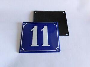 Old French Blue Enamel Porcelain Metal House Door Number Street Sign / Plate #11