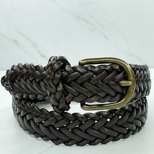 Lands' End Brown Braided Woven Genuine Leather Belt Size Medium M Kids Youth