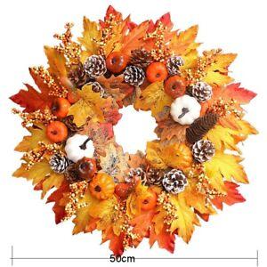 50CM Halloween Fall Front Door Decor Pumpkin Wreath Autumn Maple Leaf Garland