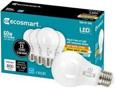 EcoSmart 60-Watt A19 Dimmable LED Light Bulb Selectable Color Change Tech 4-Pack