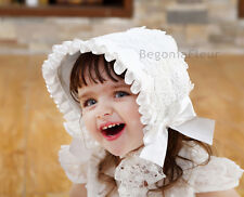White Lace Vintage Bowknot Summer Beanie Sun Hat Cap Toddler Infant Baby Kid