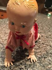 Vtg Wind Up Mechanical Baby Tin Toy Clockwork Celluloid