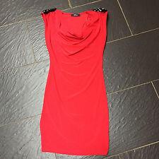 RARE RED SHIFT DRESS SEQUIN SHOULDER PADS SIZE 8