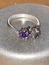 Sterling Solid Silver Amethyst Double Solitaire Ring Size N