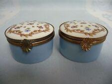 Pair Of Vintage Haviland France Hinged Trinket Boxes - Hand Painted & Enameled