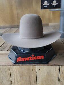 "NEW pecan 20X AMERICAN HAT CO. FELT HAT, 4 1/2"" BRIM, 6"" OPEN CROWN SIZE 7 1/8"