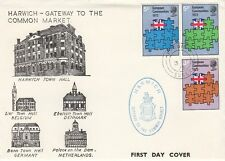 GB :1973 EEC set on illustrated OFFICIAL  FDC-HARWICH cds + cachet