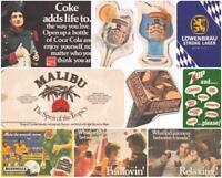 Vintage 1980s Extra Large Beermats – Coke, 7up, Vodka, Whiskey, Lager, Cider.