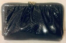a9d0d99229b2 Korto Momolu - Black Snake Skin Patent Evening Purse Excellent Condition