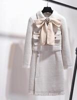 2pcs Womens Wool Blend Bow Knot Long Sleeves Coat High Waist Dress Suits C397