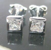 """REAL 925 sterling silver BEZEL 3mm to 7mm cz """"SQUARE"""" studs earrings - BOY GIRL"""