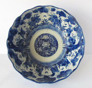 19th Century Antique Japanese Imari Blue and White Serving Bowl - Meiji Period