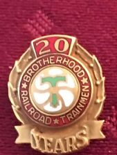 Brotherhood Railroad Trainmen 20 year Gold Filled Pin