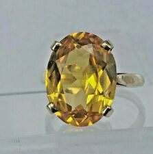 Large Yellow sapphire in 9ct gold ring uk size L