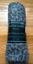 "Manor House Polar Fleece 50"" x 60"" Gray/Blck/Ylw Leopard Print FLEECE THROW New"