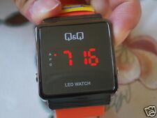 New Q&Q by Citizen Gun Metal Tone Men's LED Watch w/Orange Band