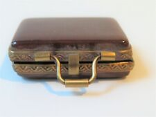 Limoges France Peint Main Trinket Box Hinged Brown Art Box of Paints & Brush