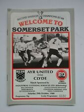 Ayr United v Clyde Scottish Football Programme 1988 / 1989