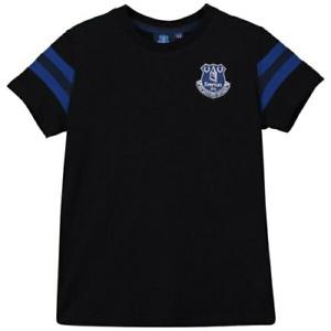 Everton Football T-Shirt Men's Fanatics Basics Striped T-Shirt - Black - New