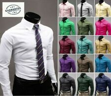 Men's Shirts Slim Fit Formal Casual Dress Work Long Sleeve Stylish T-Shirts Top
