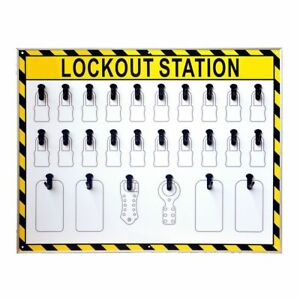 V0 26 Hooks Security Lockout Station for Safety Padlocks,Unfilled, Station Only
