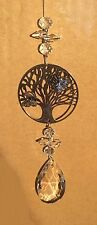Tree of Life Sun Catcher / Hanging Suncatcher With Teardrop Crystal Pendant