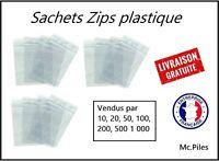 Lot 100 Sachets ZIP 80x120, pochettes, sacs plastique transparents, qualité pro
