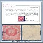 1892 San Marino Stemma Soprast. 10 c. su 20 n. 11 Certif. Diena Nuovo Integro **