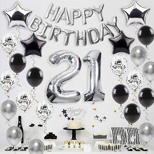21st Birthday Decorations Set Black Silver Balloons, Cake Topper, Sash, 21 Foil