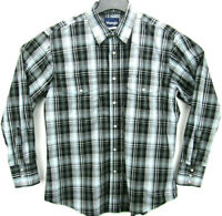 Wrangler Men's Size Large Long Sleeve Pearl Snap Western Shirt Plaid