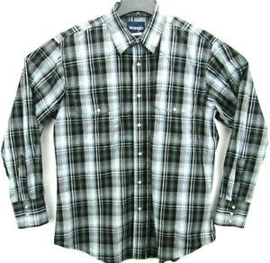 Wrangler Men's Size Large Long Sleeve Pearl Snap Western Shirt Plaid