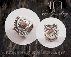 NC Designs Authentic Pandora Sterling Silver Heart 18th Birthday Charm 791047