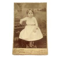 Antique Cabinet Card Photograph Child Baby Girl Toddler Freeport, Illinois Photo