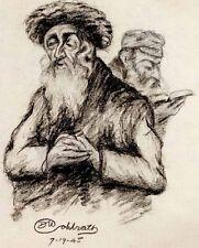 WW2 1940's Vintage JEWISH RABBI & SHTREIMEL Painting Signed JUDAICA SKETCH / ID?