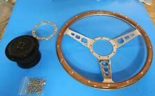 """New 15"""" Laminated Wood Steering Wheel & Hub Adapter Datsun 240Z 260Z 280Z 280ZX"""