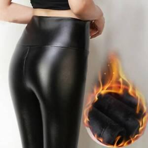 Womens Winter Warm Fleece Lined Leather Wet Look Leggings Stretch Skinny Pants