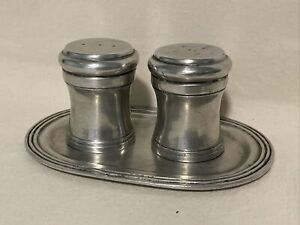 Pierre Deux Pewter Salt And Pepper Shaker Set With Tray