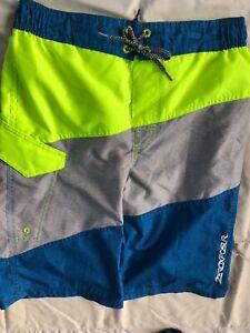 ZeroXPosur Youth Boys XLarge(18-20) Swim Trunks Lime Green/Gray/Blue Mesh Lined