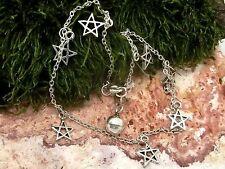 Fußkettchen Pentagramm 925 Silber Länge ca. 24 cm Fusskette Fußschmuck